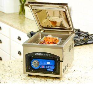 Seal food in a chamber vacuum sealer