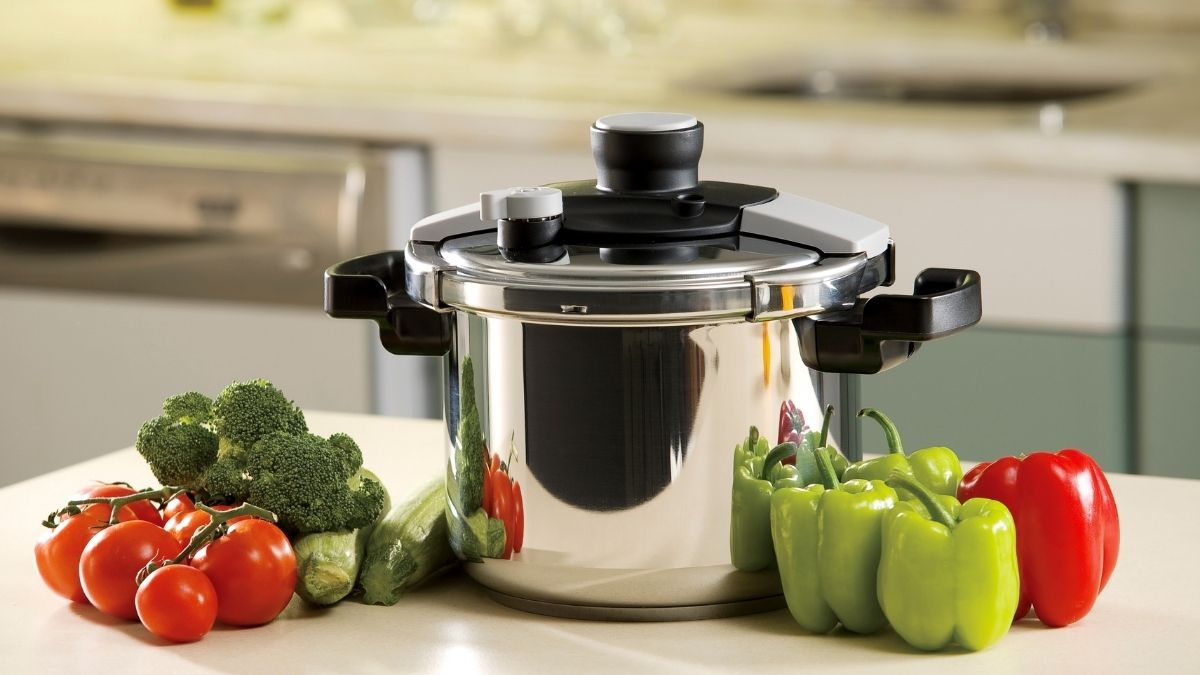 fresh vegetables and pressure canner for vegetable canning