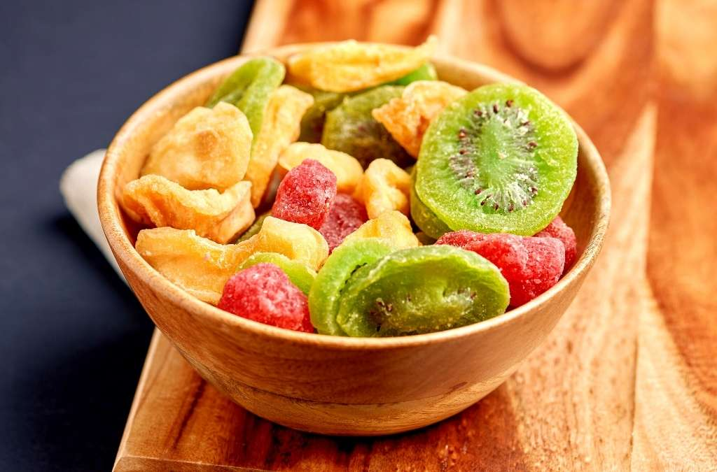 dehydrated fruits in a bowl using fruit dehydrator